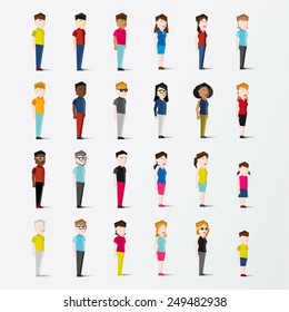 Men and Women People In Side Standing View Vector Illustration