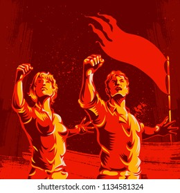 Men and Women protest fist revolution poster design. Propaganda Background Style. Revolution raising The Flag.