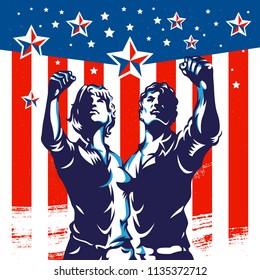 Men and Women protest fist revolution poster propaganda design. Vintage American flag background.
