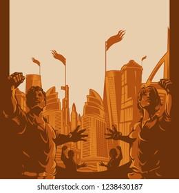 Men and Women raised protest fist with city landscape background. Retro revolution poster design elements.