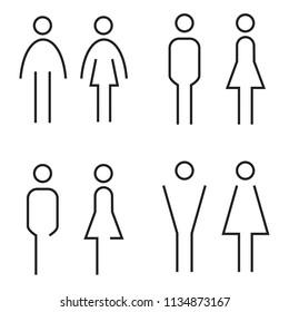 Men and women restroom signage set. Toilet symbol. Black silhouettes of people. Vector illustration