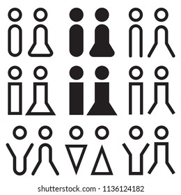 Men and women restroom signage set. Toilet symbol. Black silhouettes of people. Vector illustration
