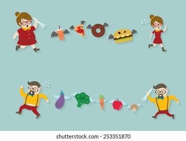 Men and women running with food vector cartoon.