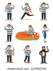 Men and women sailors in traditional striped uniform vector illustration