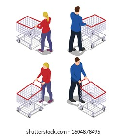 Men and women with shopping carts in isometric view. People with empty grocery carts go shopping.
