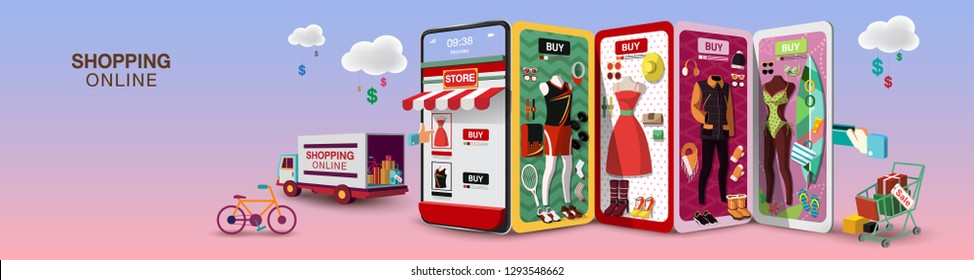 Men & Women Shopping Online on Mobile Phone Long Size VECTOR