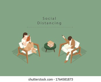 Men and women are sitting and reading on sofa wearing masks and maintain social distancing to minimize the risk of getting Covid19.Isometric Illustration about Reading books during social distancing.