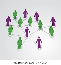 Men and women in social network map - illustration