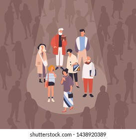 Men and women spotlighted or illuminated by beam of light against crowd of people on background. Concept of focus group, target audience, demography research. Flat cartoon vector illustration.