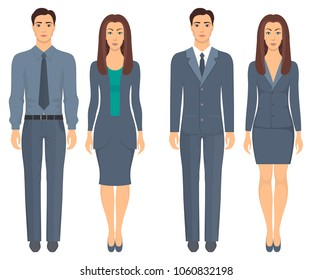 Men and women standing in full growth in formal clothes. Couples in elegant and casual clothes. Basic wardrobe. Vector illustration, isolated