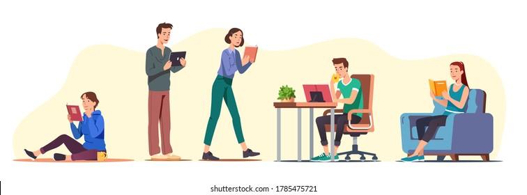 Estudiantes hombres y mujeres leyendo papel y libros digitales mientras se sientan, caminan, de pie. Leyendo a casa en sillón, en el escritorio, en el suelo. Personas estudiando, educando, literatura. Ilustración vectorial plana