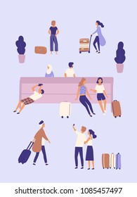 Men and women with suitcases waiting at airport or bus station. Group of people or passengers with luggage sitting on bench, taking selfie photo, standing, walking. Flat cartoon vector illustration