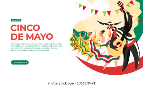 Men and women take part in the parade on the occasion of cinco de mayo. Vector illustration of cinco de mayo celebration concept. Landing page main block layout.
