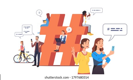 Men & women texting, sending messages with hashtags on computers, mobile phones. Tiny people chat online near big hashtag symbol. Social network modern communication concept. Flat vector illustration