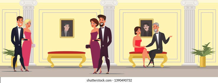 Men and women at theater vector illustration. People in opera, operetta hall. Ladies wearing luxury elegant dresses. Celebrities at cinema premiere. VIP event. Couples having date drawing