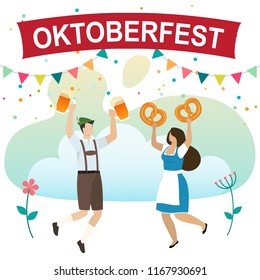 Men and women in traditional Bavarian clothes celebrate beer festival Oktoberfest. Friends in tracht, dindl and lederhosen have fun at the Oktoberfest. Vector