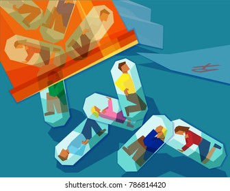 men and women trapped inside pill capsules being emptied from a pill bottle - prescription drug addiction concept