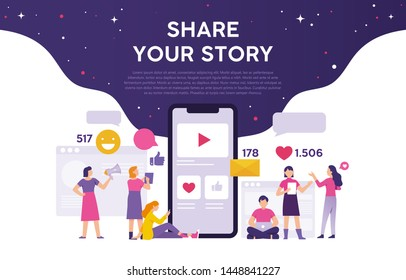 men and women try to create content and share it through social media, video content to get feedback. the concept of people shares their stories with the world of social media