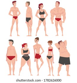 Men and Women in Underwear Set, Different Human Body Constitution, Male and Female Body Types Cartoon Style Vector Illustration