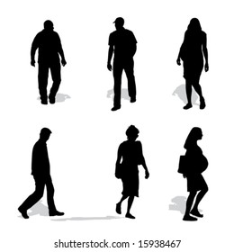 men and women walking, vector silhouettes