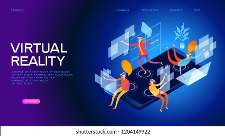 Men and women wearing a virtual reality headset with a user interface. The world of augmented reality. Future technology. Page template. 3d isometric illustration