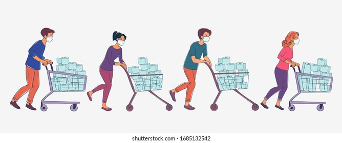 Men and women in white medical mask with cart shopping in supermarket. Concept of corona virus  quarantine vector illustration