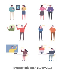 Men and women who communicate in a variety of ways. flat design style vector graphic illustration set