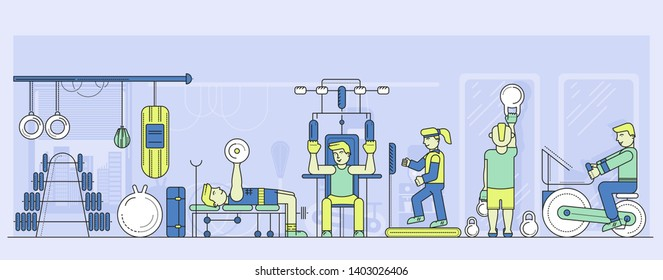 Men and women work out at gymnasium. Fitness girls and guys with athletic, training equipment at exercise room. Interior of gym vector flat illustration. Sporting active lifestyle.