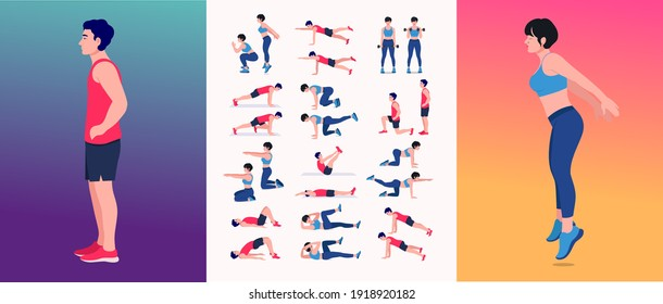 Men and Women Workout Set. Men and Women doing fitness and yoga exercises.