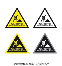 Men at work traffic sign vector set warning work in progress