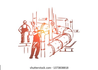 Men working on pipeline, safety check, workers in hard hats, maintenance business, petroleum refinery. Energy industry, oilman profession concept sketch. Hand drawn vector illustration