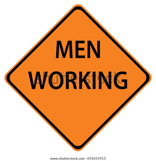 Men working sign isolated against a white background