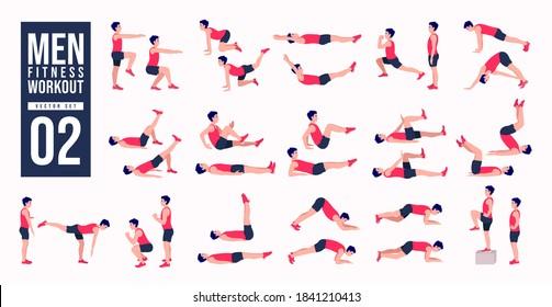 Men Workout Set. Men exercise vector set. Men doing fitness and yoga exercises. Lunges, Pushups, Squats, Dumbbell rows, Burpees, Side planks, Glute bridge, Leg Raise, Russian Twist .etc