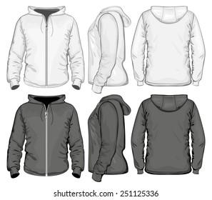 Men zip hoodie white and black. Vector illustration
