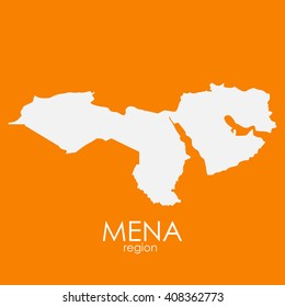 Mena Region Map Vector Illustration EPS10
