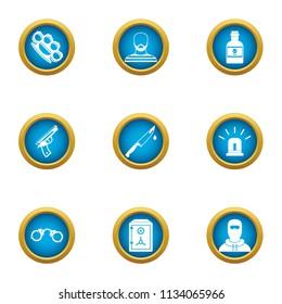 Menace icons set. Flat set of 9 menace vector icons for web isolated on white background