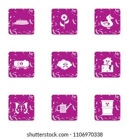 Menace icons set. Grunge set of 9 menace vector icons for web isolated on white background