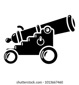 Menacing cannon icon. Simple illustration of menacing cannon vector icon for web.