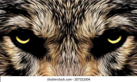 Menacing expression and mystic charm of wolf, beautiful animal and dangerous beast. Amazing blackened vector image in oil painting style. Great for user pic, icon, label, symbol, emblem or tattoo.