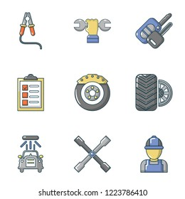 Mend icons set. Flat set of 9 mend vector icons for web isolated on white background