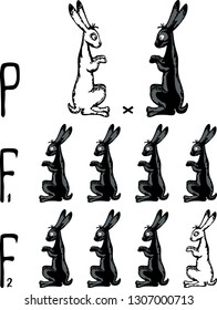 Mendel inheritance scheme of black and white rabbits