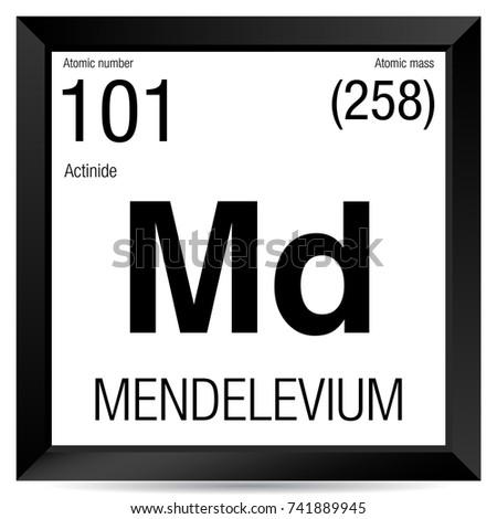 Mendelevium Symbol Element Number 101 Periodic Stock Vector Royalty