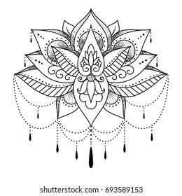 Mendi, mehendi, tatuaje para las mujeres flor de loto. Ilustración vectorial en blanco y negro. Ornamento para dibujar henna en un cuerpo o para un tatuaje