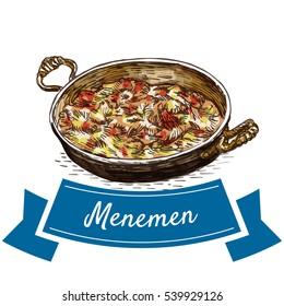 Menemen colorful illustration. Vector illustration of turkish cuisine.