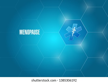 menopause background and medical symbol over a blue background