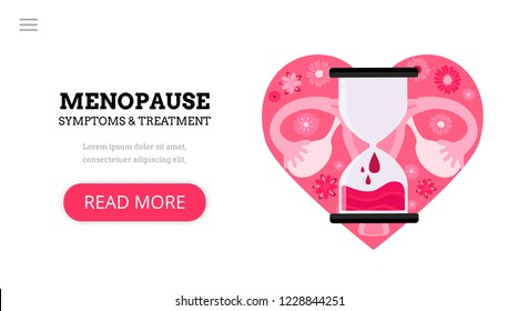 Menopause. Climacteric. Women's health. Menstrual periods. Landing page template. Modern flat concept with uterus, hourglass and flowers.