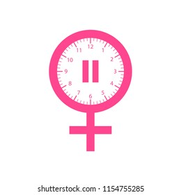Menopause icon,in pink color. On a white background. Vector Illustration.
