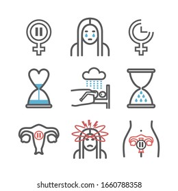Menopause line icons. Woman Sickness. Vector signs for web graphics