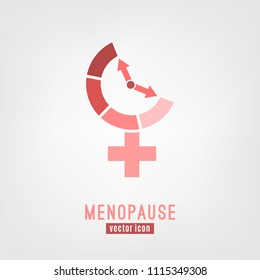 Menopause vector icon. Editable illustration in pink colors isolated on a white background. Medical, healthcare and feminine concept.