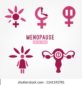 Menopause vector icons set. Editable illustration in magenta colors isolated on a white background. Medical, healthcare and feminine concept. Female health awareness sign collection.